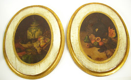 Pair OVAL Antiqued Florentine Plaques Wood Distressd Gold White Italy Fr... - $29.69