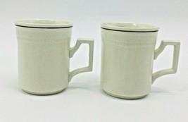 "Staffordshire Large Mugs 4"" Kensington England Stoneware Tan with Brown Trim - $17.42"