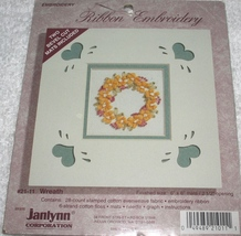 Janlynn~Ribbon Embroidery~WREATH~with 2 bevel-cut mats - $4.99