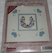 Janlynn~Ribbon Embroidery~HORSESHOE~with 2 beve... - $4.99