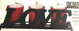 LOVE Votive Candle Holder 4 Pc Set Home Scapes #227FD Valentines Day Swe... - $14.69