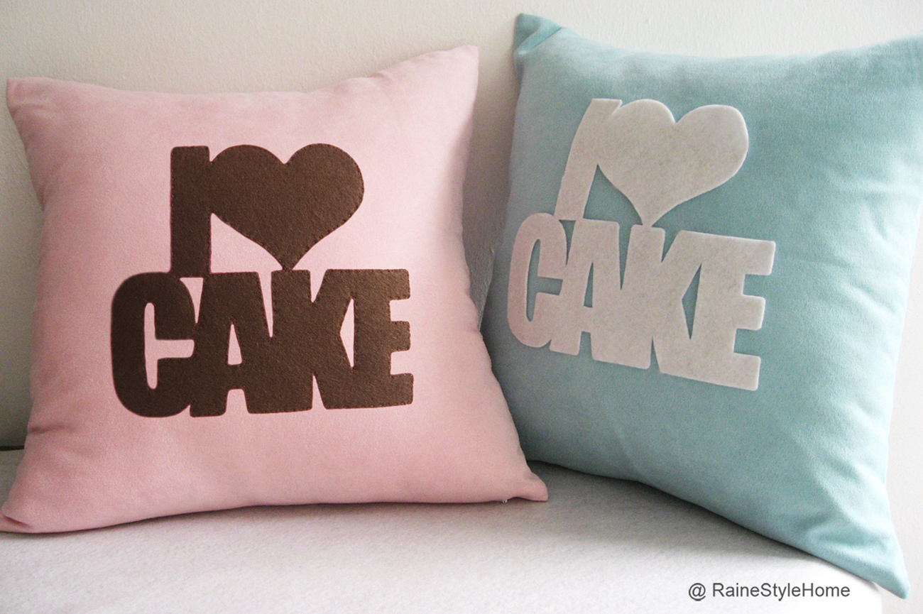 Handmade I Love Cake Turquoise And White Pillow Cover. Decorative Cushion Cover