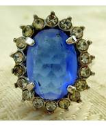 Ring, Avon, Circa 1970, Blue Stone with Rhinestones - $20.00