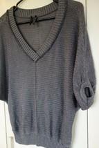 Guess Women's Sweater, Dark Gray W/Silver/Metallic Thread Sparkle Boxy D... - $28.00