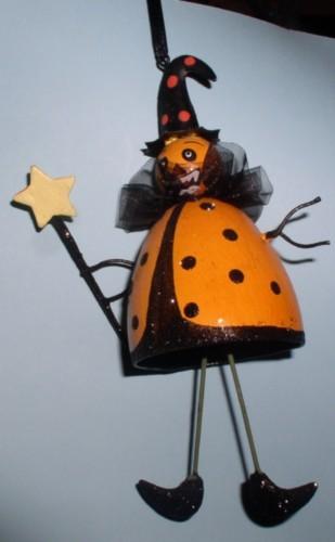Halloween Witch Goblin Orange handmade ornament