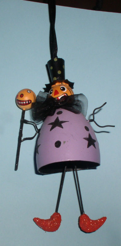 Halloween Witch Goblin purple handmade ornament