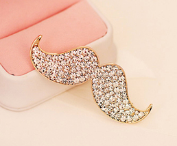 Cute Crystal Embellished Mustache Brooch. Pin. Geek Gift. Bling. Girls Gift - $21.90
