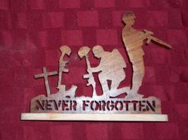 Wooden Never forgotten soldier military display - $26.00
