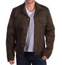 Levi's Men Premium Button Up Denim Jean Jacket Relaxed Rigid Green 707970004