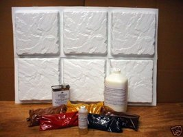 6 CASTLE STONE MOLDS + SUPPLIES TO CRAFT 100s OF 12x12x1.5 PATIO PAVERS ... - $187.95