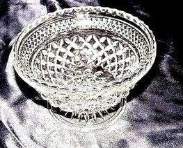 Cut Glass Footed Bowl with Detailed Diamond Design AA18-11810 Vintage Heavy image 2