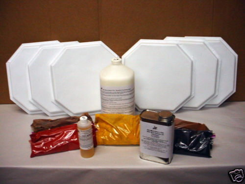 12 MOLD TILE MAKING KIT w/SUPPLIES MAKE 12x12 OCTAGON FLOOR TILES FOR $0.30 EACH
