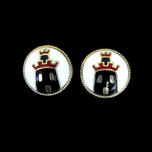 Vintage Coro Round Gold Tone & Enamel Earring Clips with Castles - $22.00