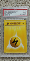 Pokemon Lightning Energy 100/102 1st Edition Base Set PSA 9 Game 1999 Sh... - $24.99