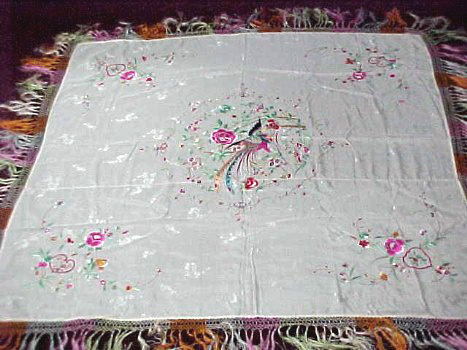 Vintage Silk Piano Shawl Embroidered Bird Floral Fringed