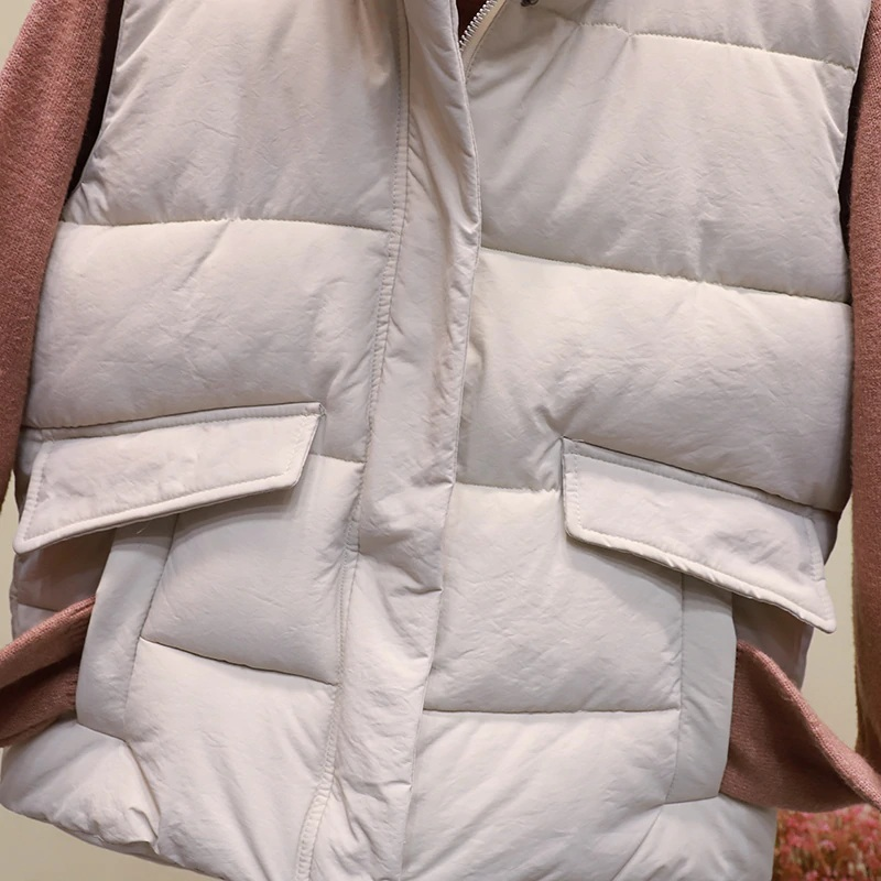 New black warm padded winter vest with pockets stand collar sleeveless waistcoat image 12