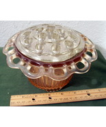 Vintage Depression Glass Flower Dish w/ Frog - $25.99