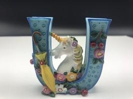 Mary Engelbreit Unicorn Letter U ME 1999 Flowers Umbrellas Figurine - $13.50