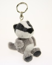 NICI Badger Gray Stuffed Animal Plush Beanbag Key Chain 4 inches 10 cm - $11.00