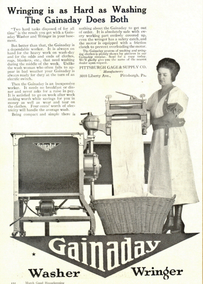 1936 Gainaday Washer & Wringer print ad