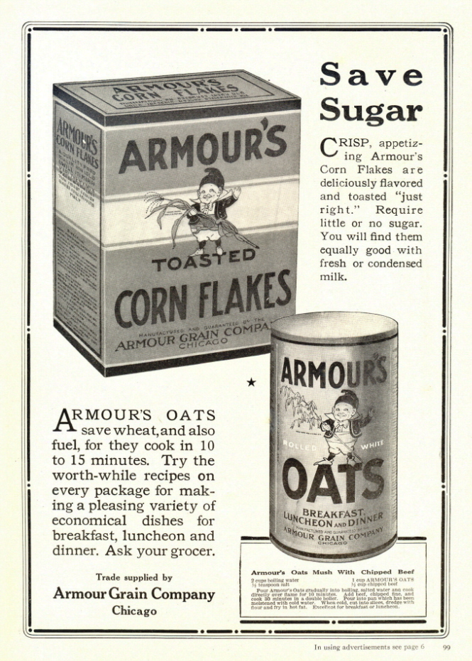1942 Armour's Corn Flakes & Oats Recipe  print ad