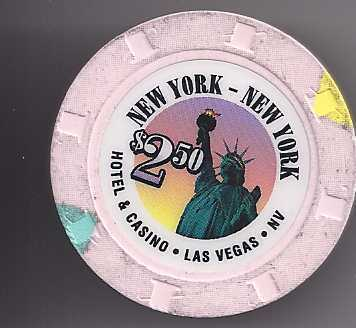 $2.50 NEW YORK NEW YORK Hotel & Casino Las Vegas Casino chip