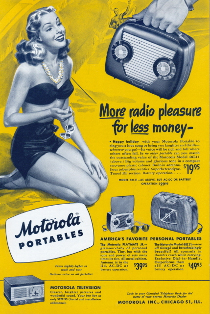 1948 Motorola Portable Radio & table-top Television ad