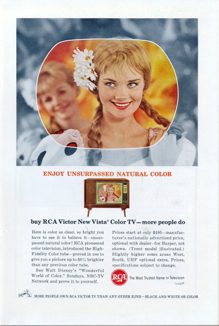 1959 RCA Victor Vista Color TV Television print ad