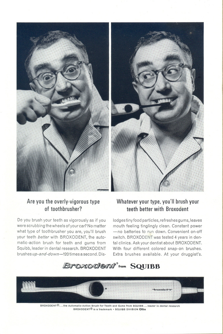 1963 Squibb Broxodent Automatic Toothbrush print ad