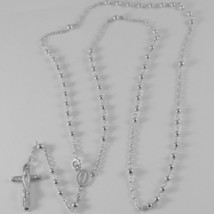 18K WHITE GOLD ROSARY NECKLACE MIRACULOUS MARY MEDAL & JESUS CROSS MADE IN ITALY image 1