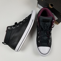 New CONVERSE sz 12 women's leather padded tongue collar mid top sneakers - $55.00