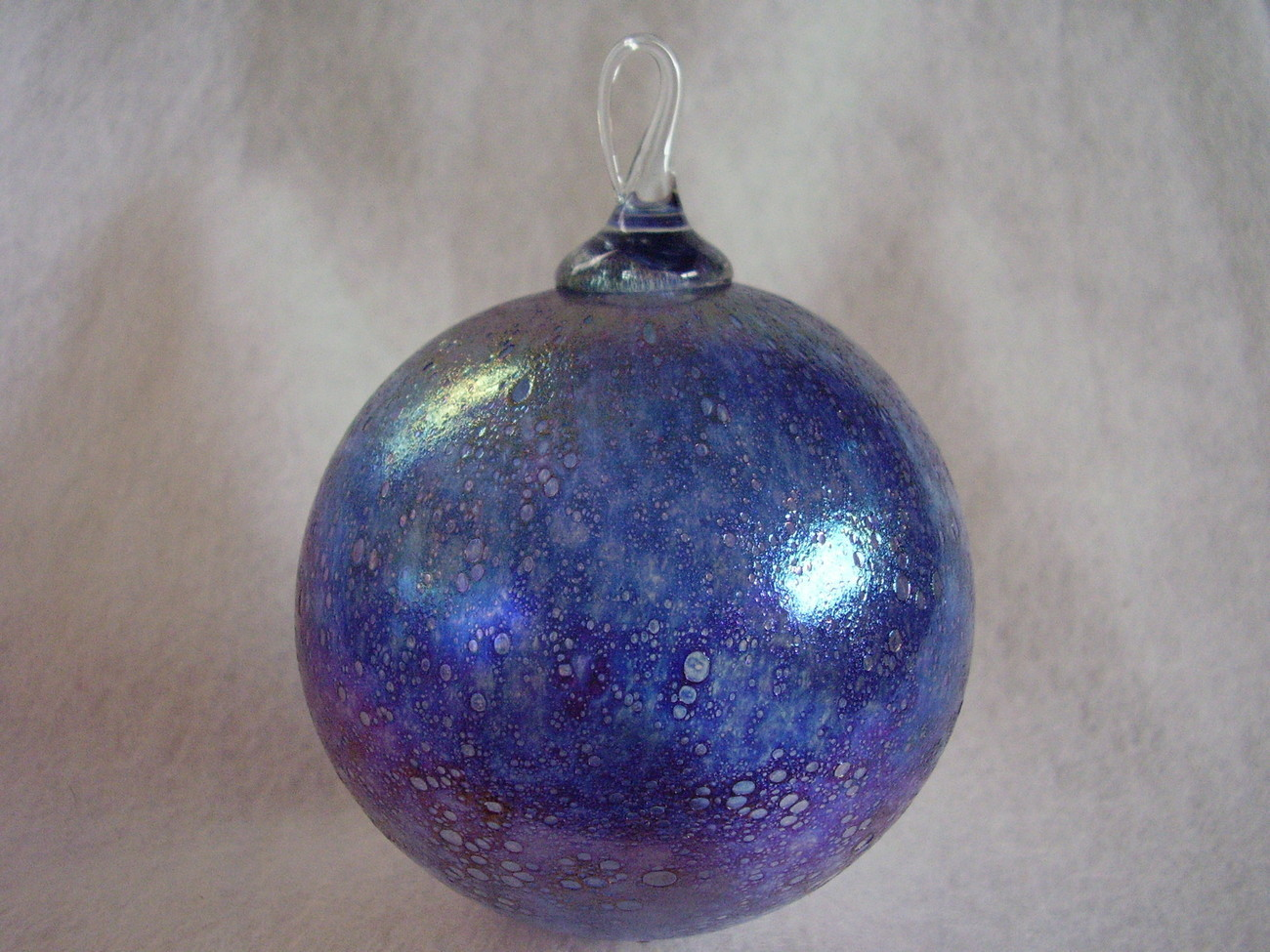 Hand Blown Iridized Christmas Glass Ornament Glass Loop