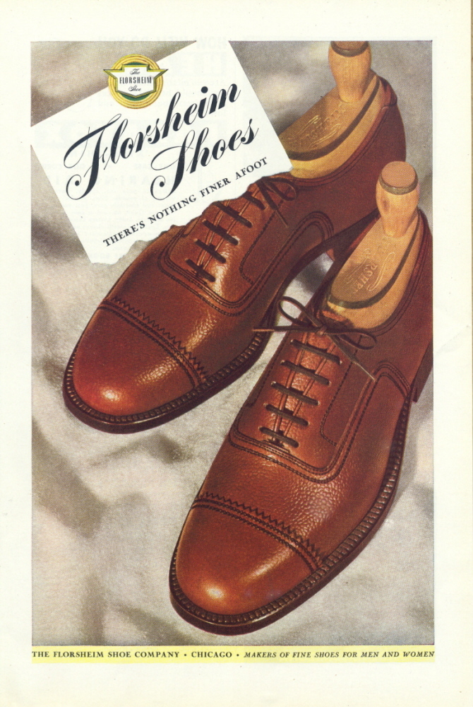 "1946 Florsheim "" Nothing Finer Afoot "" Men's Shoe ad"