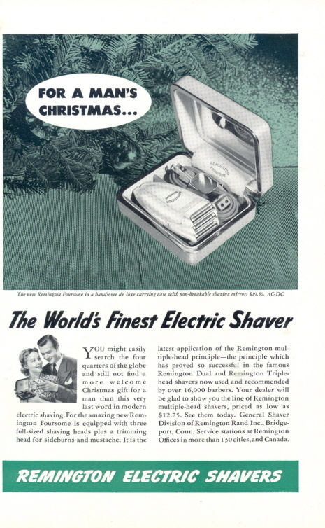 1941 Remington Foursome Electric Shavers Man's Xmas ad