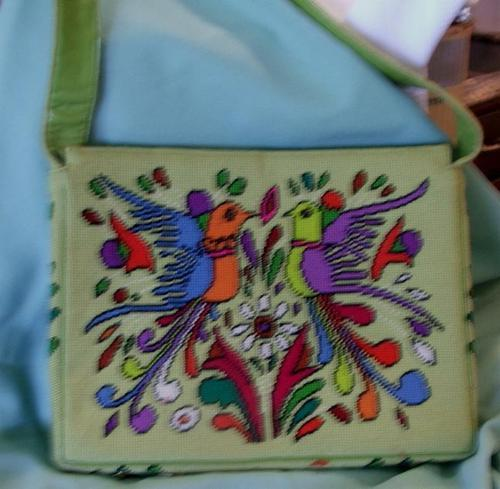 Retro Mid Century Needlepoint Shoulder Bag Purse Birds Design