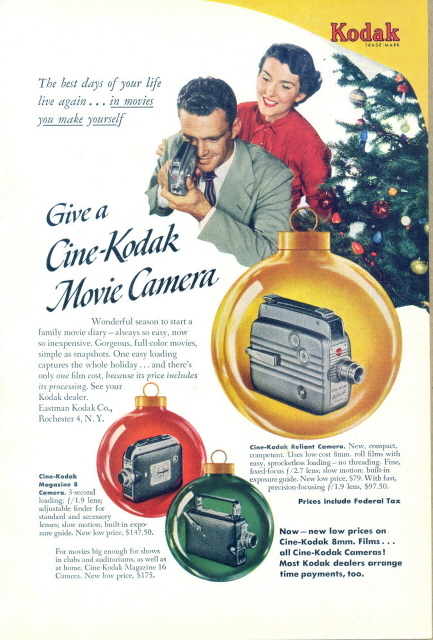 1948 Cine-Kodak Magazine 8 Reliant Camera Christmas ad