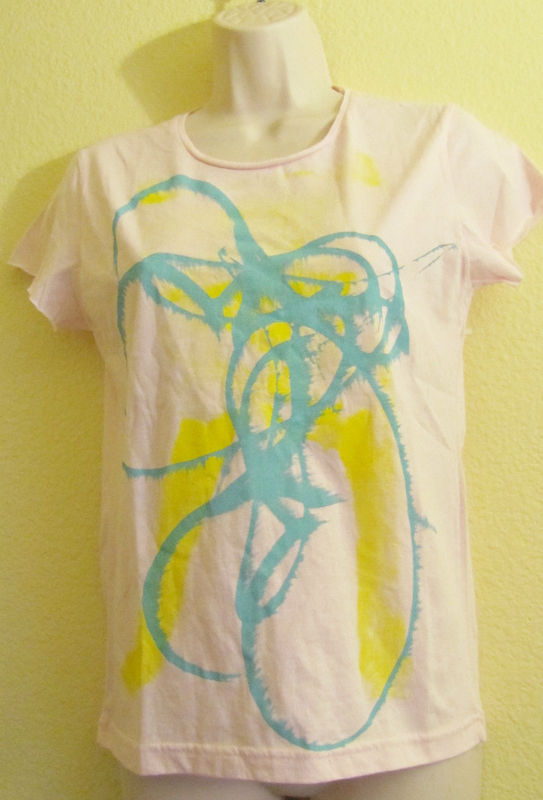 Primary image for New Salvor Pink Graphic T-Shirt Top Aqua Green Yellow Swirl Print Sz M Medium