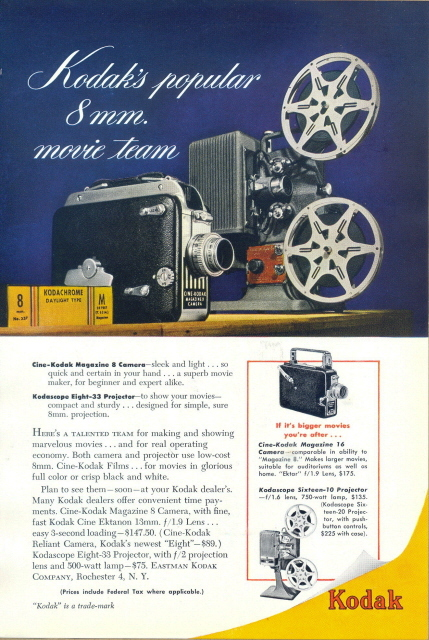 1941 Kodak Cine-Kodak 8mm Camera & Projector print ad