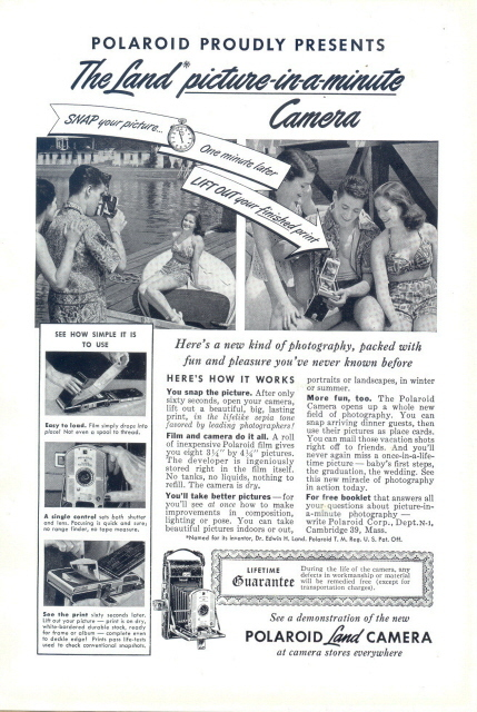 1949 Polaroid picture-in-a-minute Land Camera print ad