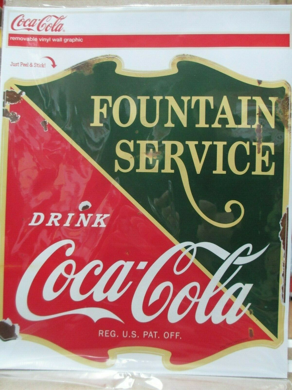 Primary image for Coca-Cola Removable Vinyl Decal 1930s Fountain Service Drugstore Distressed
