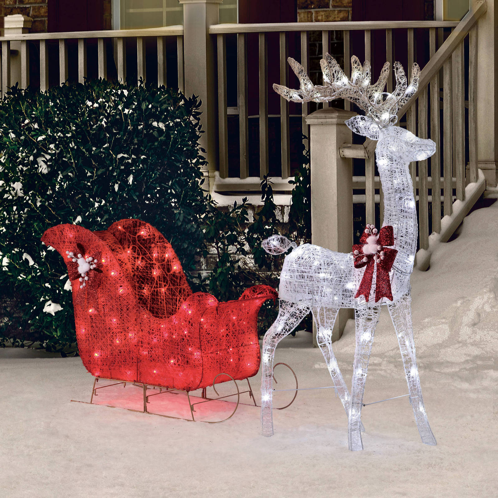 christmas decoration outdoor yard decor pre lit deer santa sleigh xmas sculpture