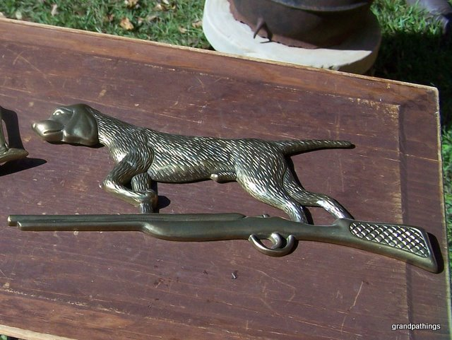 Vintage Brass Made In Taiwan Hunting Dog Wall Hanger 13''