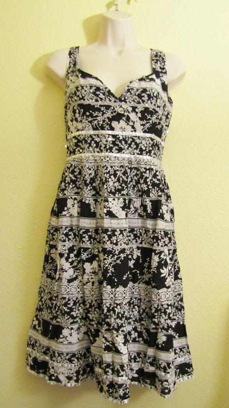 Primary image for NWT CHAUDREY KC COTTON DAY DRESS, BEADING, SEQUINS,SZ L LARGE,BLACK&GRAY,PRINT