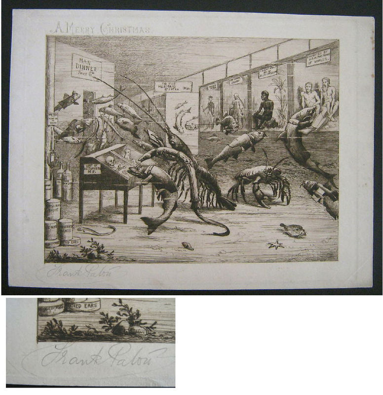 Frank Paton  A Merry Christman Sea Life V Humans Signed Etching