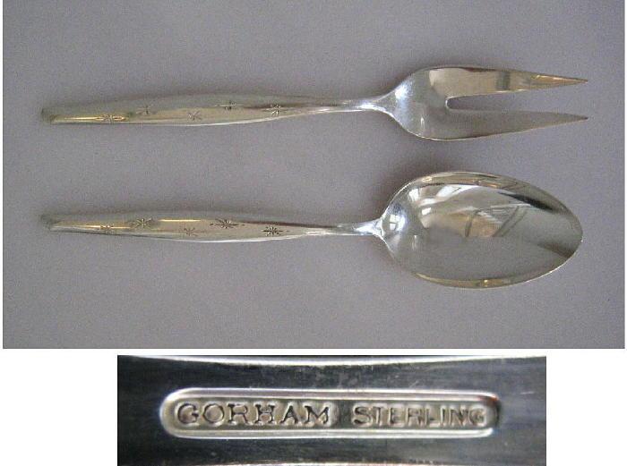 Gorham Sterling Silver Stardust 1957 Serving Fork & Spoon