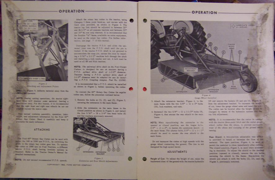 """Ford Model 22-111 60"""" Rotary Mower Operator's Manual - 1962"""