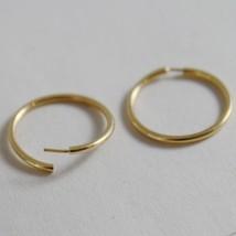 18K YELLOW GOLD EARRINGS MINI CIRCLE HOOP 13 MM 0.51 IN DIAMETER MADE IN ITALY image 2