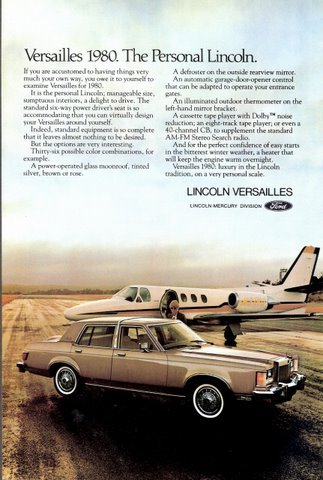 1980 Lincoln Versailles in runway with private jet print ad