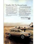 1980 Lincoln Versailles in runway with private jet print ad - $10.00