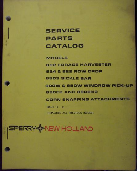 New Holland 892 Forage Harvester and Attachments Parts Manual
